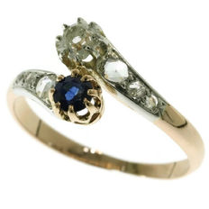Original vintage antique romantic love ring with diamonds and sapphire