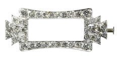 Platinum Art Deco brooch  entirely set with old European cut diamonds, ca. 1920