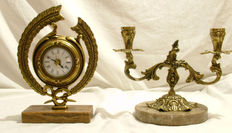 Bronze table clock and candlestick - end of 20th century
