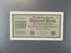 Germany - 97 x 1000 Marks from 1922 - Pick 76 - original bundle without bank wrapper, consecutive numbers