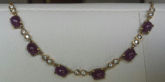 Necklace with diamonds and beautiful cabochon rubies
