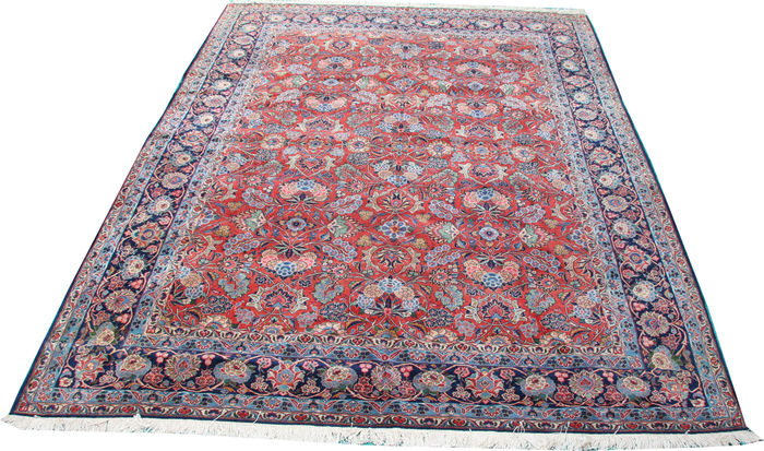 "Antique handmade Persian Qazvin room size carpet size 324 x 248cm (10'5""x8')"
