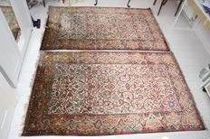 Pair of antique Persian silk Kashan rugs 215x135cm and 220x132cm