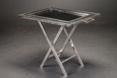 FLAIR Firenze – steel drop-leaf table with crocodile leather