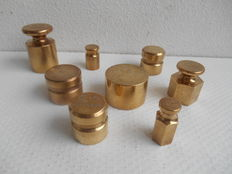 8 Brass Bank money weights - England.  CA. 1920