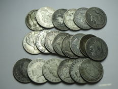 Kingdom of Italy, 2 Lira silver coins, Vittorio Emanuele II and Umberto I (20 pieces)