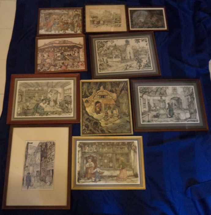 Anton Pieck Lot With Ten Prints In Frames And Five Books Second