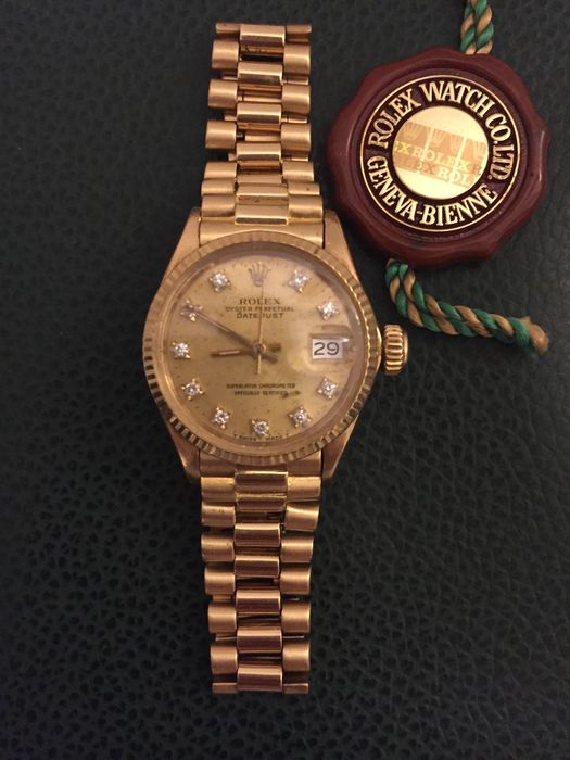 rolex datejust oyster perpetual president damenuhr aus gelbgold catawiki. Black Bedroom Furniture Sets. Home Design Ideas