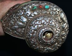 22 cm long antique Tibetan conch (Shanka), artistic with silver in Repus decoration - Tibet - 19th century