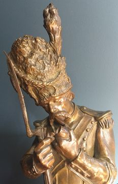 Antoine Bofill (1875-1953) - large bronze sculpture of a pipe-smoking Napoleonic soldier - Spain - early 20th century