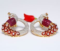 10.82 ct Peacock-shape Diamond and Ruby Earrings with Red Enamel Work