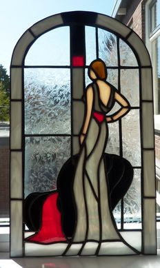 "Tiffany secondary window ""Lady at the window"" - Netherlands - 21st century"