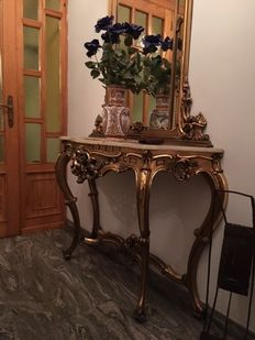 Rococo style gilded wood console table with mirror - Tuscany, Italy, 1950s