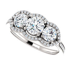 2.30 ct D/VS1 three-stone diamond ring made of 14 kt white gold - size 7