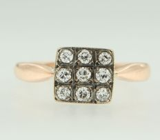 Gold with silver ring set with Bolshevik cut diamonds
