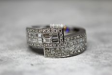 White gold anniversary Ring set with princess, Baguette and Brilliant cut diamonds