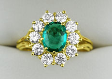 18kt Yellow Gold Emerald and Diamond Entourage Ring