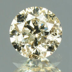0.31 ct brilliant cut diamond, greyish brown I2