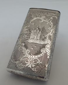 Silver box with chapel, late 19th /early 20th century