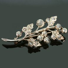 Victorian gold flower branch brooch with diamonds encrusted in silver top, ca. 1850