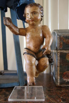 Antique polychrome wooden angel/putto - South-Germany/Italy - 18th century