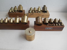 Lot old Dutch, brass weights - calibrated from  1886.