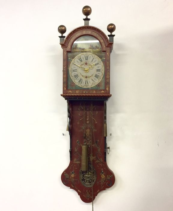 Frisian wall mounted grandfather clock with hindeloopen painting circa 1945 catawiki - Wall mounted grandfather clock ...