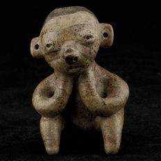 Nayarit Seated Ceramic Terracotta Statue - 9 cm
