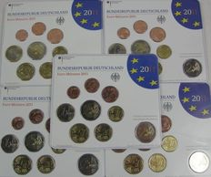 Germany, – Year packs 2011 A, D, F, G, J, including 5 x 2 Euro coin 'Nordrhein-Westfalen'