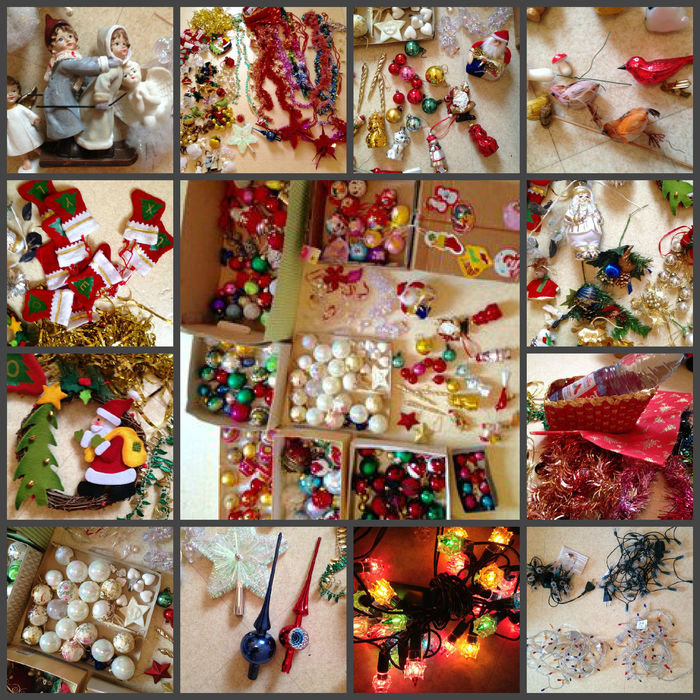 large lot of old christmas decorations and set of christmas lights