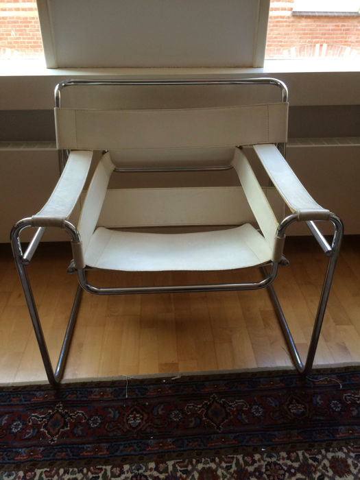Marcel breuer wassily chair in white leather replica catawiki - Replica wassily chair ...
