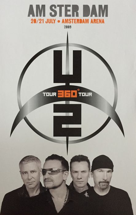 u2 360 degrees tour limited concert poster amsterdam. Black Bedroom Furniture Sets. Home Design Ideas