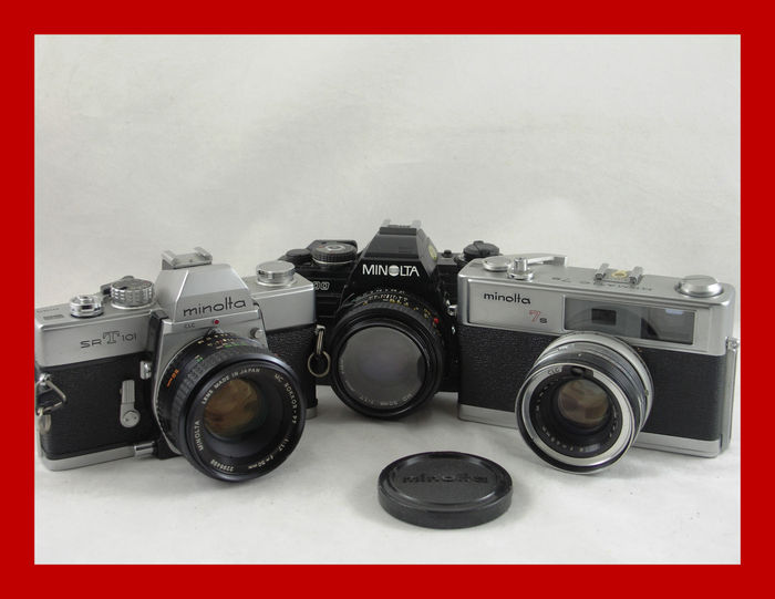 3 Japanese Minolta cameras: SRT 101 the X-700 and the 7S Himatic