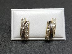 14 kt White and yellow gold ear studs with 20 zirconia stones - Measurements 12 mm x 5 mm
