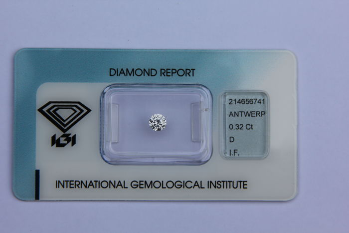 Brilliant cut diamond, 0.32 ct, D,  IF