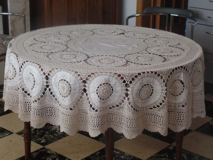 Large Circular Tablecloth   Cotton Crochet With Linen Lining   Belgium,  Approx. 1940.