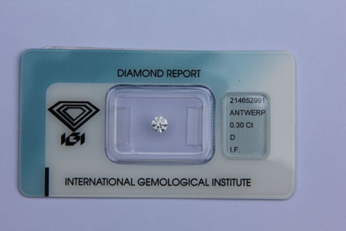 0.30 ct brilliant cut diamond, D IF