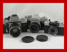 3 Japanese cameras: the Ricoh/Riken TLS 401 and 2x Olympus, the FTL and the Pen  EE-3