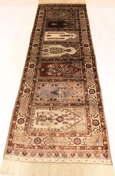 Valuable, unique old hand-knotted silk palace carpet, Hereke, silk on silk, unique item, 85 x 260 cm, unique and in new condition