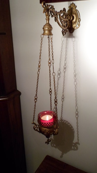 Authentic brass sanctuary lamp - Netherlands - early 20th