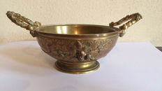 F. Barbedienne (1810-1892)-a Goût Grec bronze dish with grape vines and blackberries-France-second half 19th century