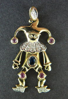 Gold pendant – Joker, harlequin – Sapphire, amethyst and ruby.