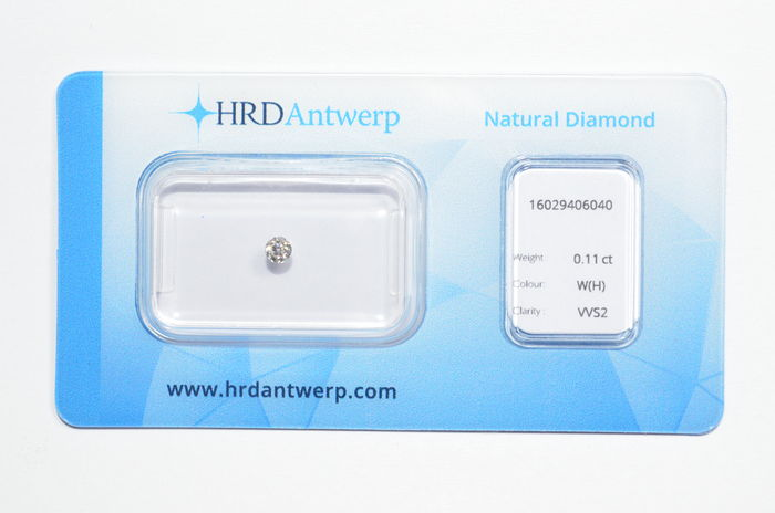 0.11 ct brilliant cut diamond, W(H), VVS2