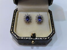 18k Gold Tanzanite and Diamond Cluster Earrings