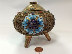 Chinese export silver-gilt filigree and enamelled censer - China - c.- 1940