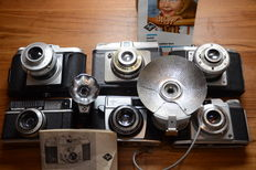 6 German cameras from the '50s/'60s with 2 flashes.