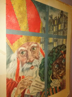 Nice old school poster with Sinterklaas and Zwarte Piet