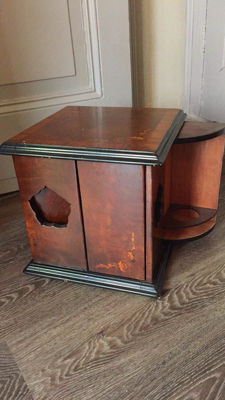An attractive marquetterie drinks cabinet on turntable, mid 20th century