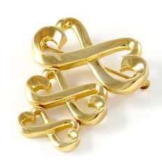 Tiffany & Co. - Paloma Picasso 18K Yellow Gold Triple Loving Heart Brooch