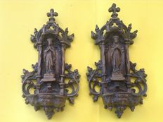 Bronze holy water stoups, late 19th century